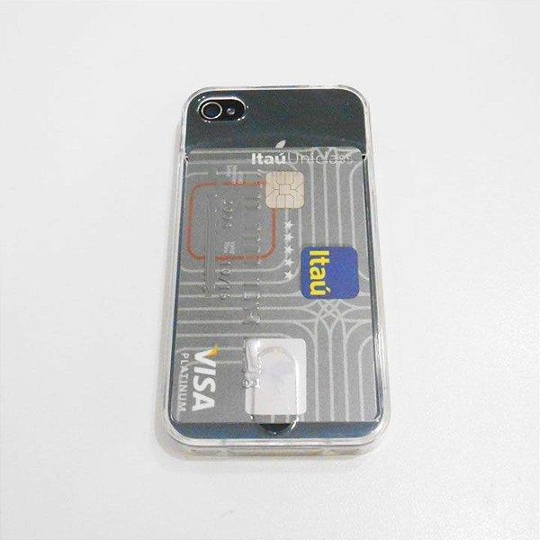Capa de Silicone Transparente com Porta Cartão para iPhone 6 (4.7)