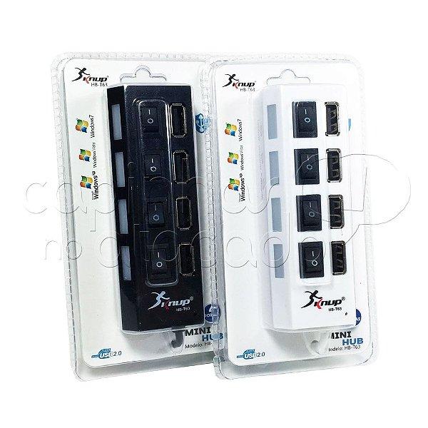 Mini HUB USB 2.0 com 4 portas - Cores Sortidas
