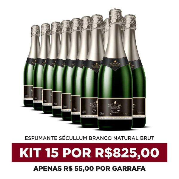 Kit c/15 Garrafas de Vinhos Sécullum Charmat Espumante Brut Reserva