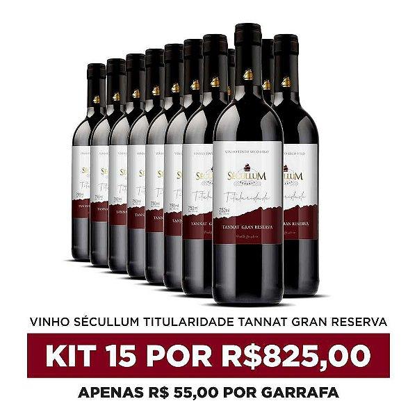 Kit c/15 Garrafas de Vinhos Sécullum Titularidade Tannat Gran Reserva