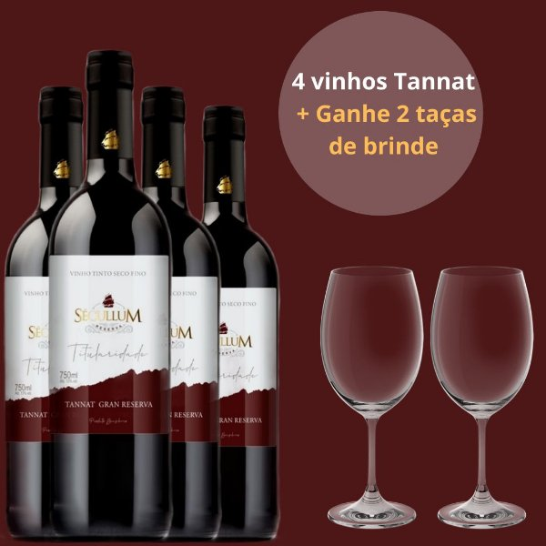 Combo 4 Vinho Tinto Seco Fino Titularidade Tannat Gran Reserva + Ganhe 2 Taças