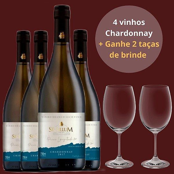 Combo 4 Vinhos Sécullum Branco Reserva Seco Chardonnay 2017 + Ganhe 2 taças
