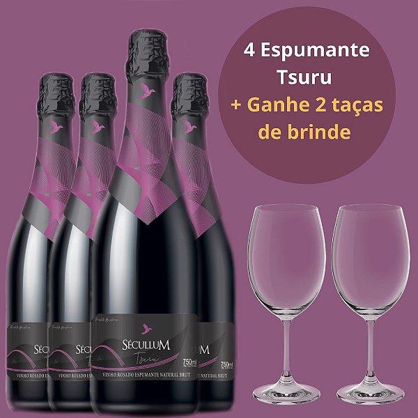 Combo 4 Vinho Sécullum Rosado Espumante Natural Brut Tsuru + Ganhe 2 Taças