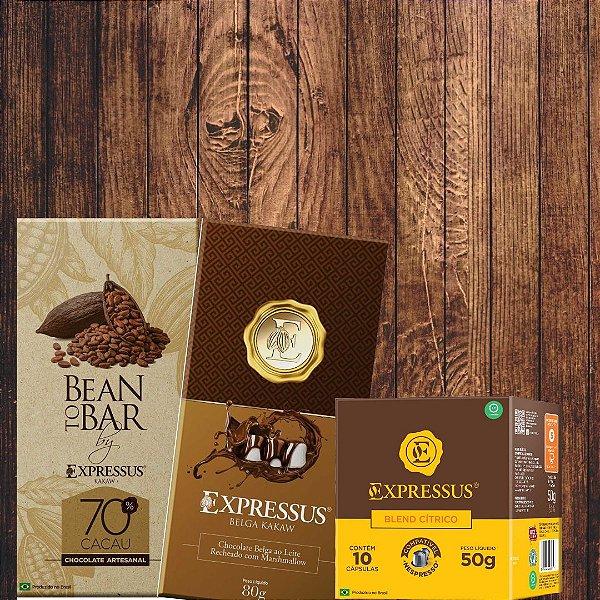 Combo = 1 Barra Bean To Bar 70% + 1 Barra de Marshmallow + 10 Cápsulas de Café Blend Cítrico