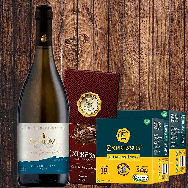 Combo = 1 Vinho fino branco Charonnay + 1 Barra Chocolate Belga ao Leite + 20 Cápsulas de Blend Café Organico