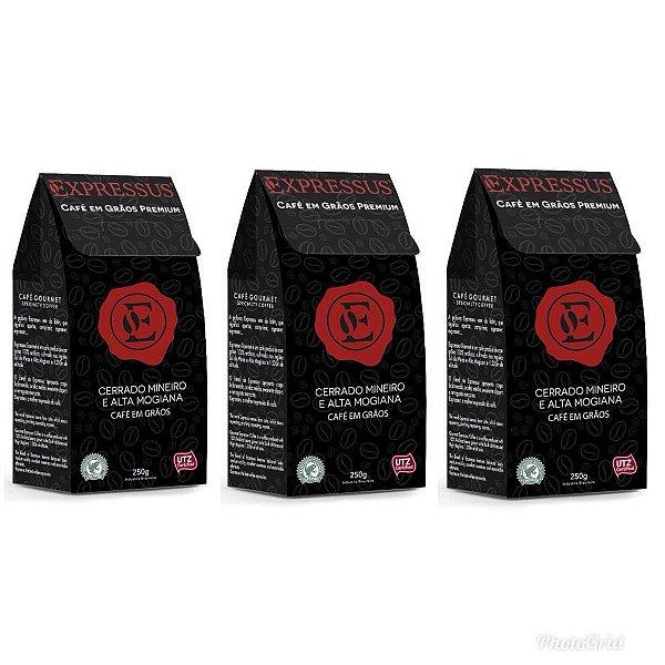 Kit C/3 Caixas de Café Expressus Grão Premium Gourmet
