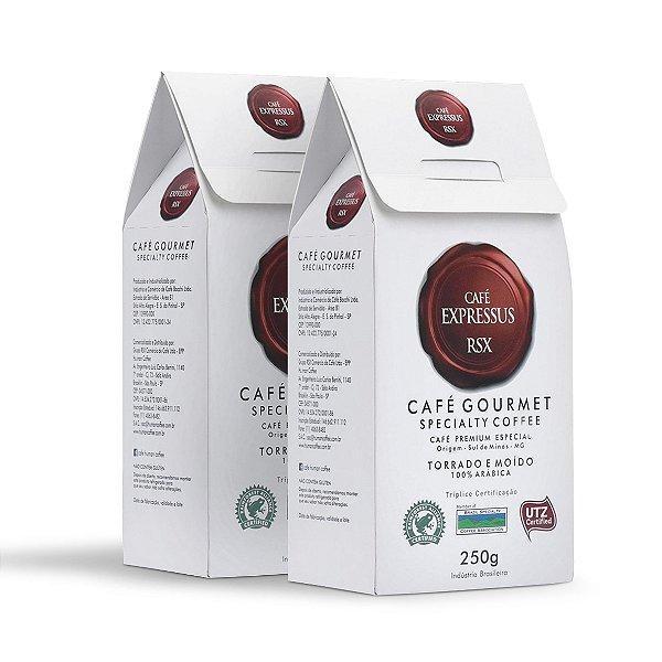 Kit Café Expressus Torrado e Moído Gourmet Especial C/ 2 Caixas de 250g.