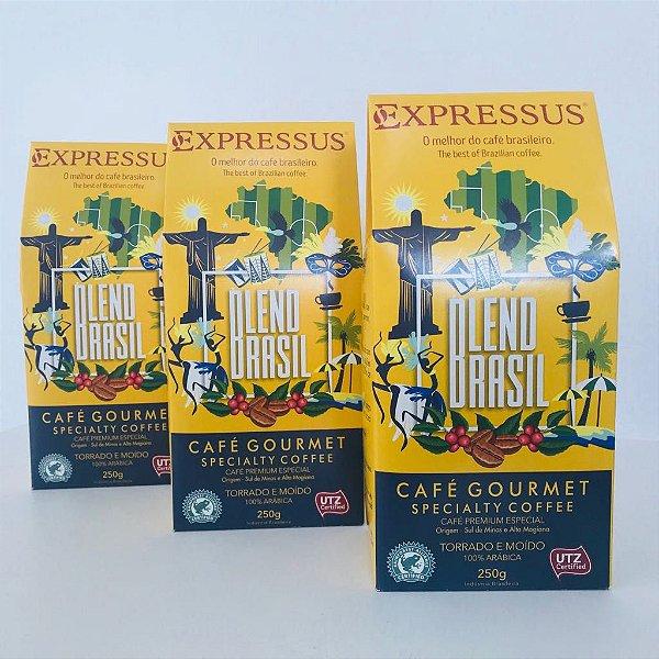 kit com 3 embalagens de Café Expressus Torrado e Moído Blend Brasil 250g.