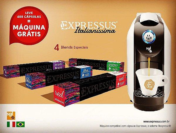 Máquina de Café em Cápsulas Expressus Italianíssima+ 400 Cápsulas Expressus Blends diversos