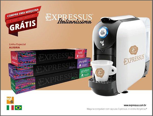 Máquina de Café em Cápsulas Expressus Italianíssima - Grátis 100 Cápsulas Linha Alegria.