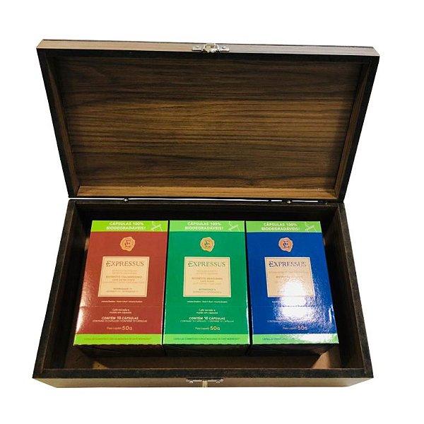 Kit Caixa de Madeira Expressus C/30 Cápsulas de Café Biodegradáveis Ristretto