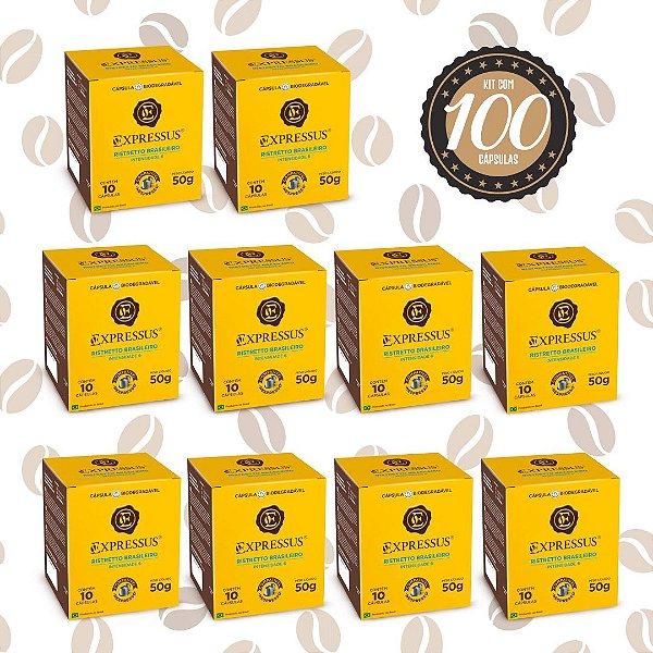 Kit C/100 Cápsulas de Café Expressus Biodegradável Brasileiro