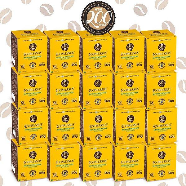 Kit C/200 Cápsulas de Café Expressus Biodegradável Brasileiro