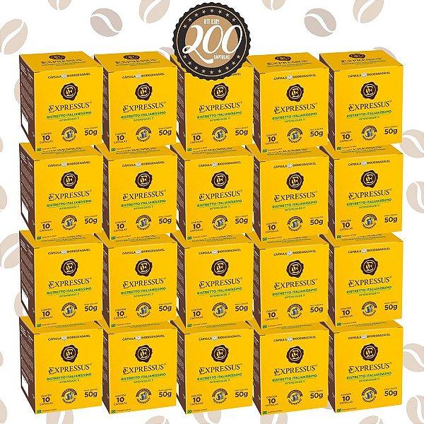 Kit C/200 Cápsulas de Café Expressus Biodegradável Italianíssimo