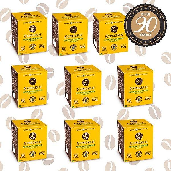Kit C/90 Cápsulas de Café Expressus Biodegradável Italianíssimo