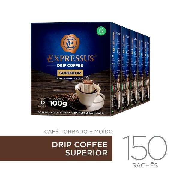 Kit c/150 Sachês de Café Drip Coffee Blend Superior