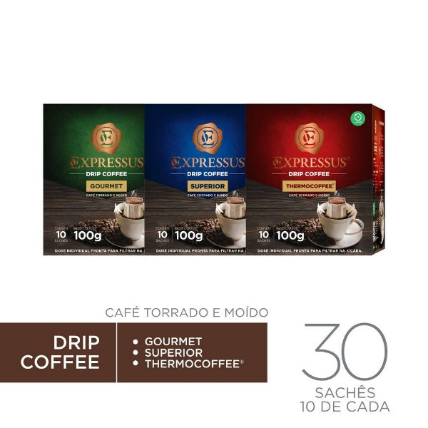 Kit c/30 Sachês de Café Drip Coffee - Gourmet/Thermocoffee/Superior