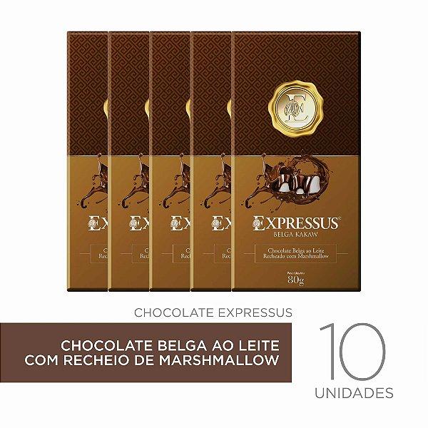 Kit c/10 Barra de Chocolate Belga ao Leite com Recheio de Marshmallow