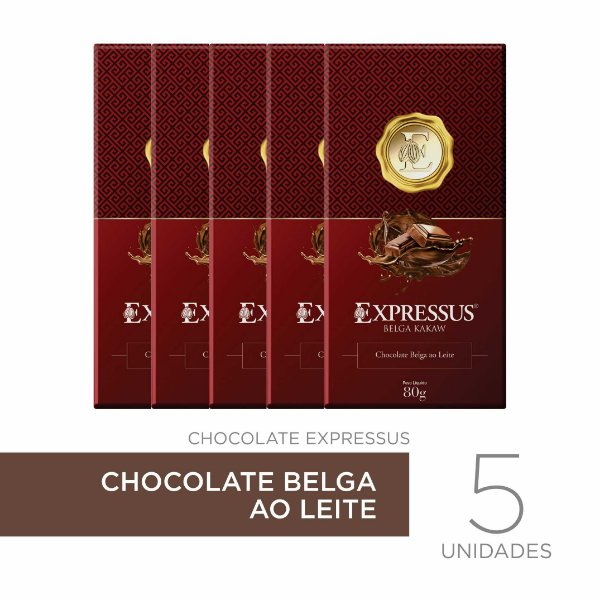 kit c/5 Barras de Chocolate Belga ao Leite