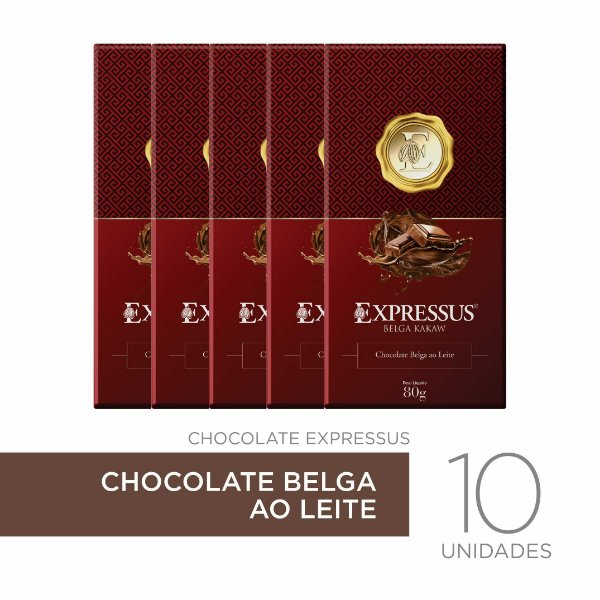 kit c/10 Barras de Chocolate Belga ao Leite