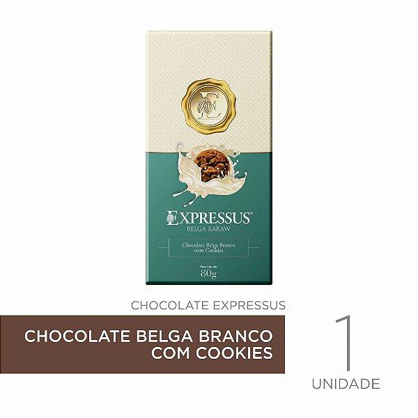Barra de Chocolate  Kakaw Belga Branco com Cookies