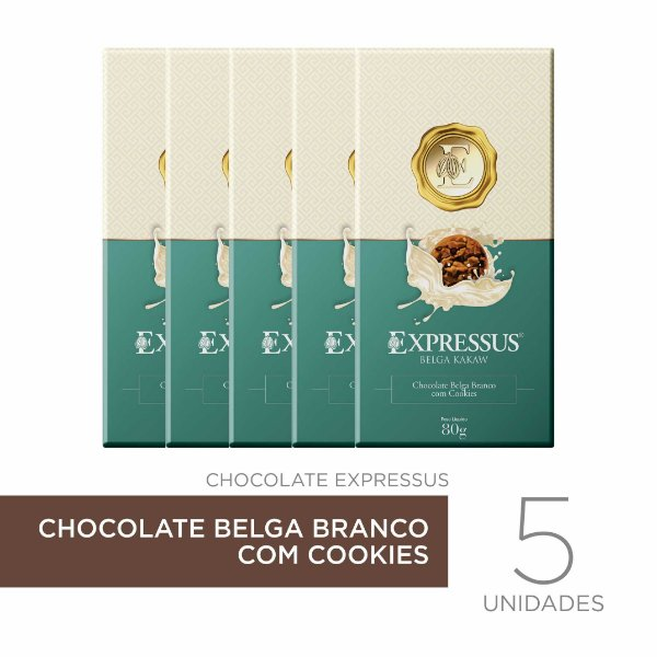 kit c/5 Barras de Chocolate Belga Branco com Cookies
