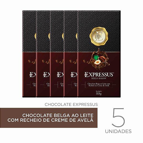 kit c/5 Barras de Chocolate Belga ao Leite com Recheio de Creme de Avelã