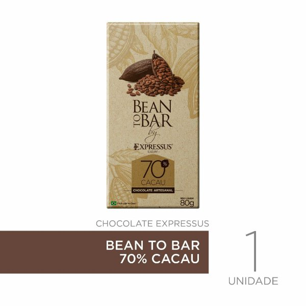 Barra de Chocolate Kakaw Bean To Bar 70 % de Cacau
