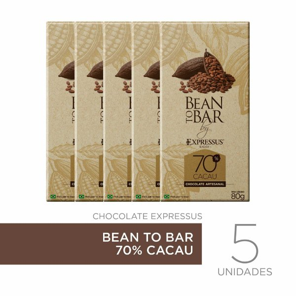 Kit c/5 Barras de Chocolate Bean To Bar 70% de Cacau