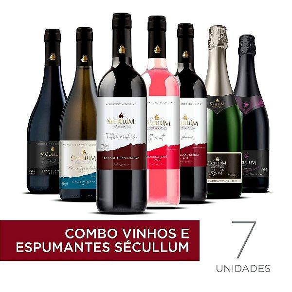 Kit c/7 Garrafas de Vinhos e Espumantes Sécullum
