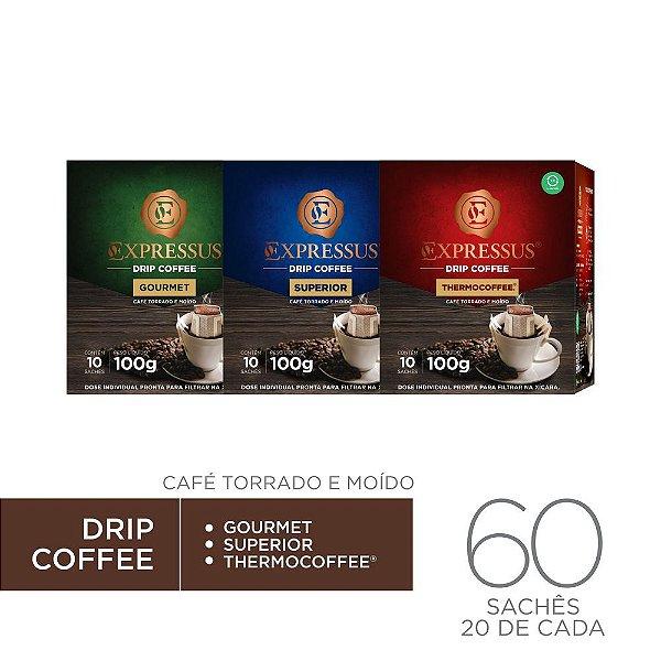 Kit c/60 Sachês de Café Drip Coffee - Gourmet/Thermocoffee/Superior