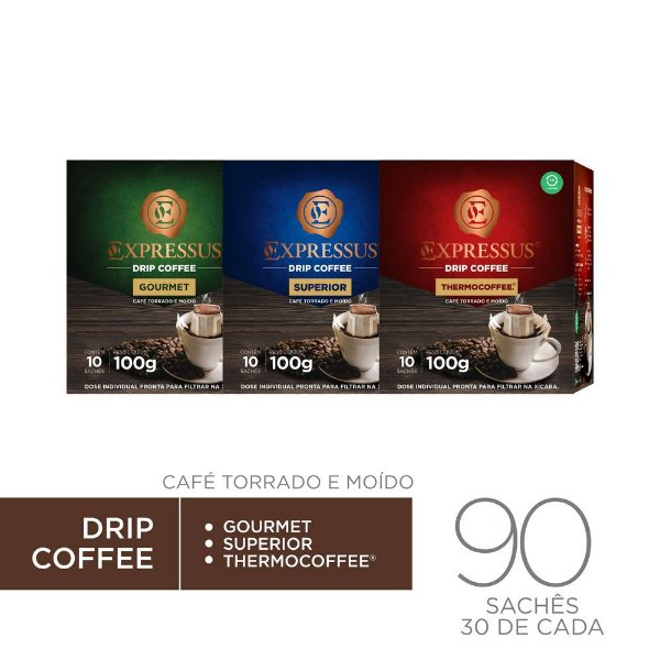 Kit c/90 Sachês de Café Drip Coffee - Gourmet/Thermocoffee/Superior