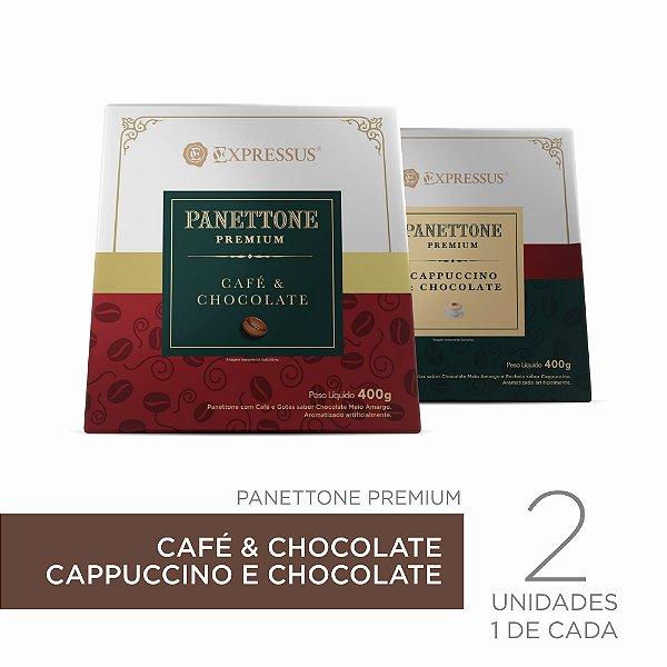 Kit c/2 Caixas de Panettone Expressus Premium - Cappuccino c/ Chocolate & Café c/ Chocolate