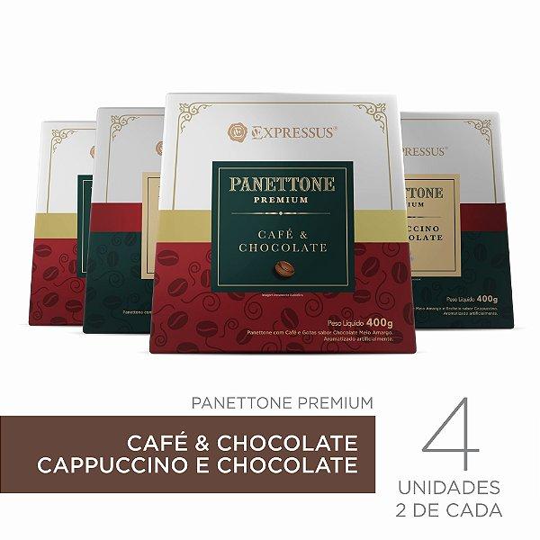 Kit c/4 Caixas de Panettone Expressus Premium - Cappuccino c/ Chocolate & Café c/ Chocolate