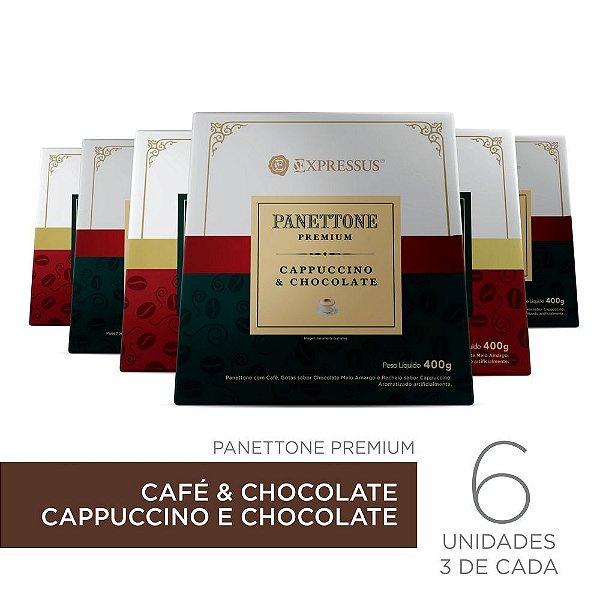 Kit c/6 Caixas de Panettone Expressus Premium - Cappuccino c/ Chocolate & Café c/ Chocolate