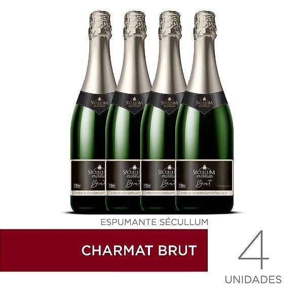 Kit c/4 Garrafas de Vinhos Sécullum Charmat Espumante Brut Reserva