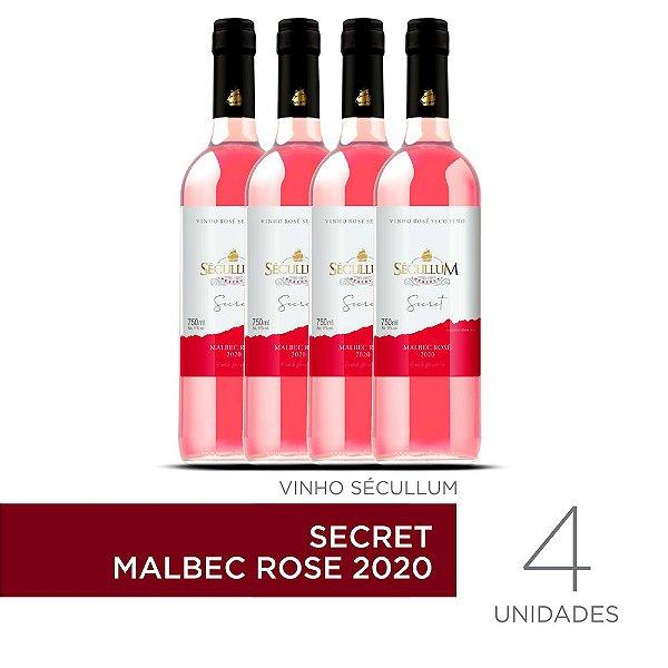 Kit c/4 Garrafas de Vinhos Sécullum Secret Malbec Rosé 2020