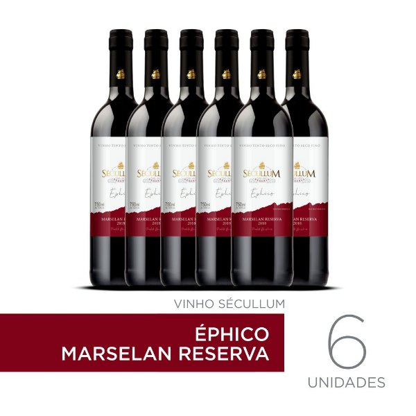 Kit c/6 Garrafas de Vinhos Sécullum Marselan Reserva Éphico
