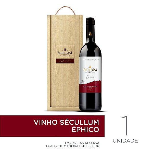 Kit Caixa de Madeira Personalizada Sécullum Collection + 1 Garrafa de Vinho Sécullum Marselan Reserva Éphico
