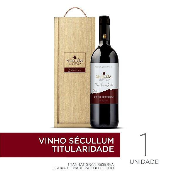 Kit Caixa de Madeira Personalizada Sécullum Collection + 1 Garrafa de Vinho Sécullum Titularidade Tannat Gran Reserva