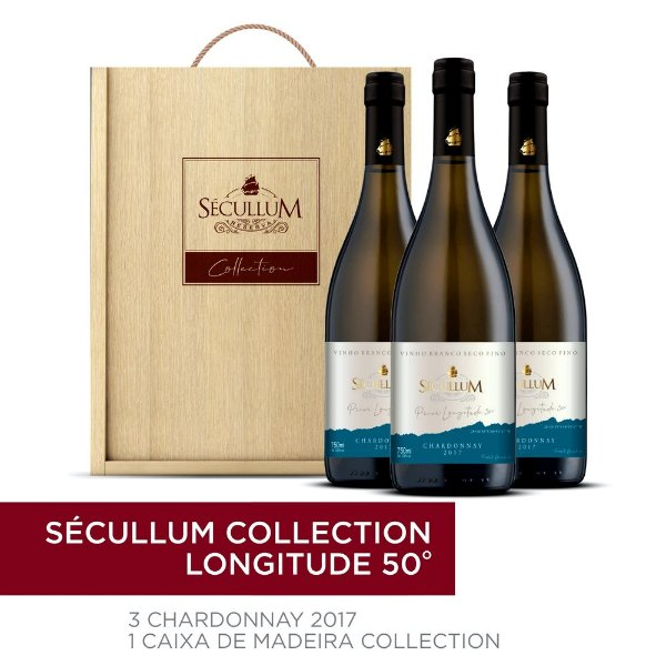 Kit Caixa de Madeira Personalizada Sécullum Collection + 3 Garrafas de Vinhos Chardonnay Reserva Seco