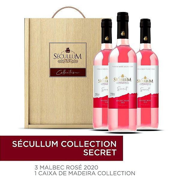 kit Caixa de Madeira Personalizada Sécullum Collection + 3 Garrafas de Vinhos Sécullum Malbec Rosé 2020
