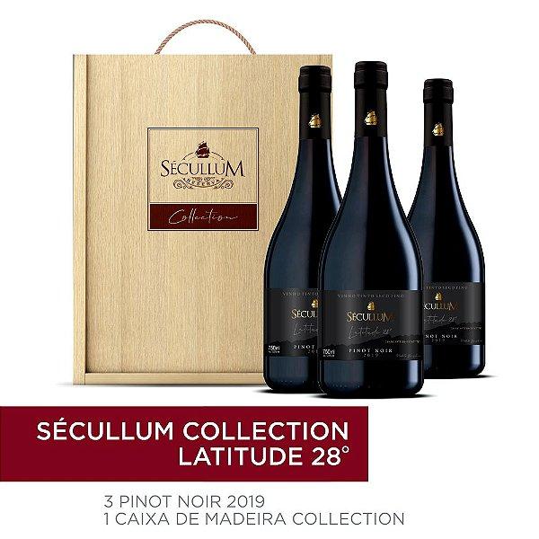 Kit Caixa de Madeira Personalizada Sécullum Collection + 3 Garrafas de Vinhos Sécullum Pinot Noir - Latitude 28°