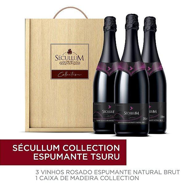 Kit Caixa de Madeira Personalizada Sécullum Collection + 3 Garrafas de Vinhos Sécullum Rosado Brut Tsuru