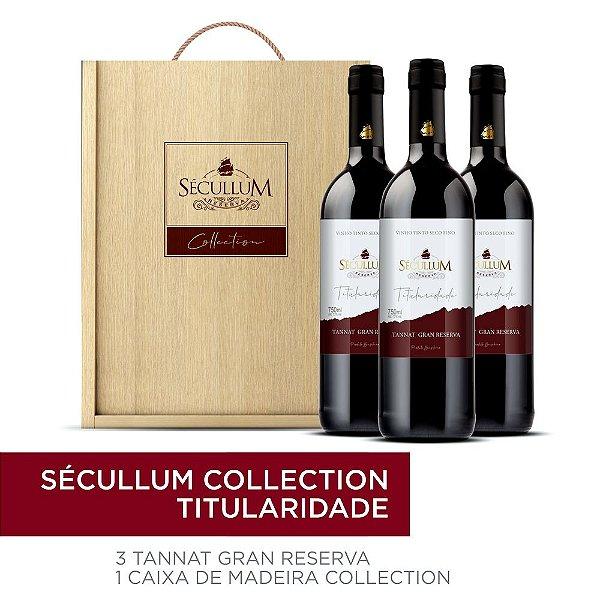 Kit Caixa de Madeira Personalizada Sécullum Collection + 3 Garrafas de Vinhos Sécullum Titularidade Tannat Gran Reserva