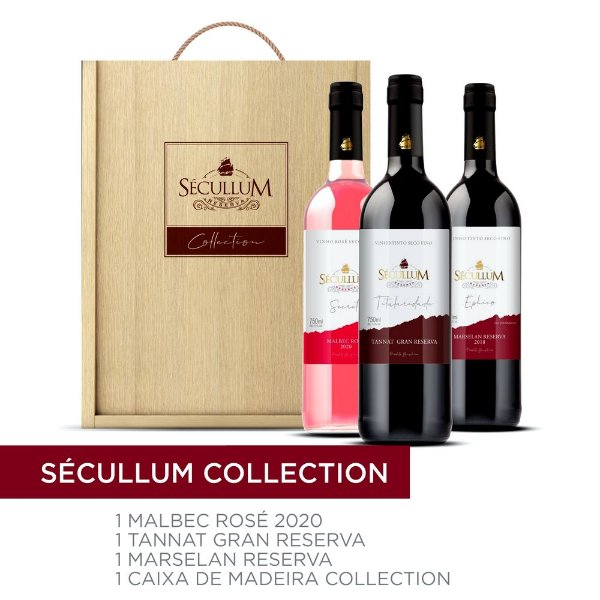 Kit c/3 Garrafas de Vinhos Sécullum Tannat/Marselan/Rosé
