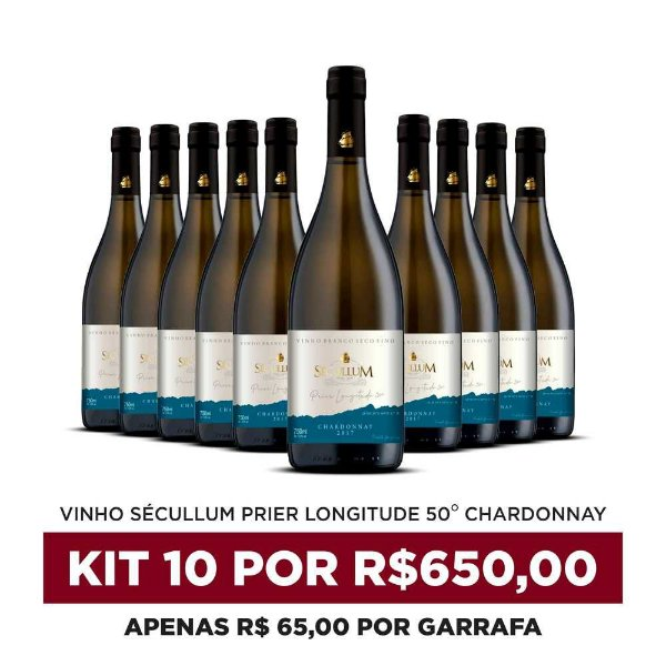 Kit c/10 Garrafas de Vinhos Sécullum Chardonnay Reserva Seco