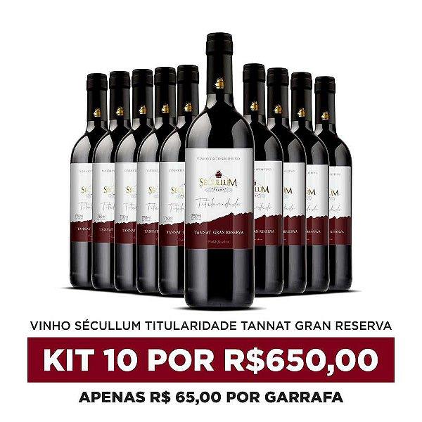 Kit c/10 Garrafas de Vinhos Sécullum Titularidade Tannat Gran Reserva
