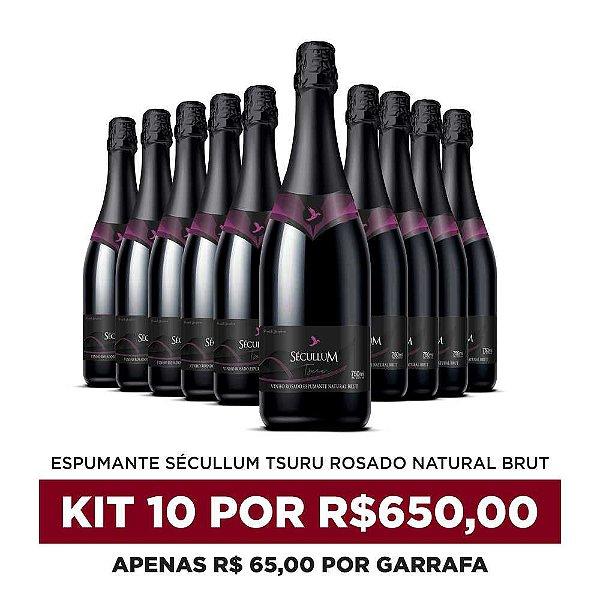 Kit c/10 Garrafas de Vinhos Sécullum Rosado Brut Tsuru