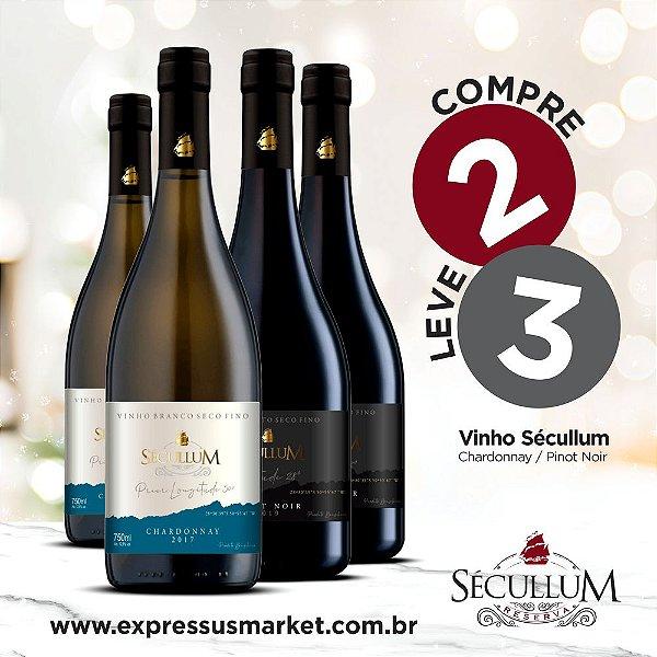 Compre 2 Garrafas de Vinhos Sécullum Chardonnay Reserva Seco e Leve + 1 Grátis